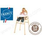 Une chaise haute traditionnelle en hêtre massif (marque française Combelle)